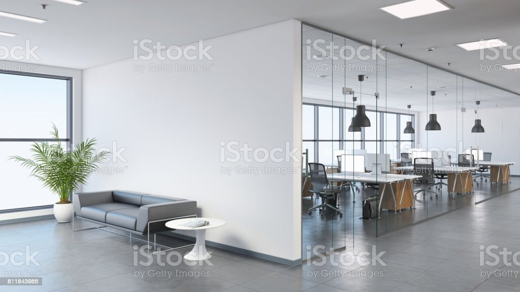 Espacio de oficinas de negocio moderno con vestíbulo - foto de stock