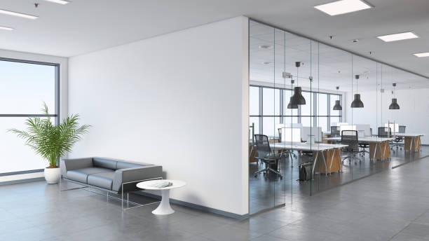 modern business office space with lobby - stile minimalista foto e immagini stock