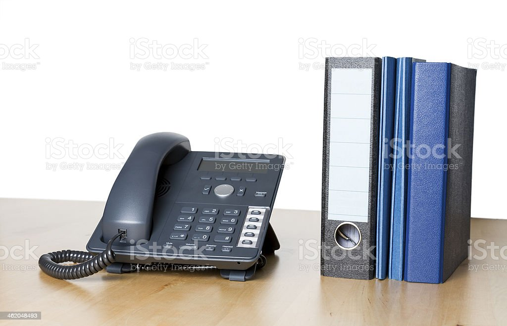 modern business phone with ring binder stock photo