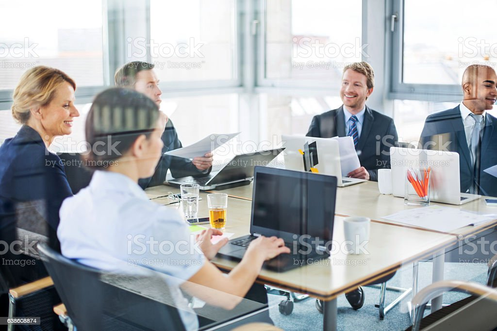 Modern business team working on new project stock photo