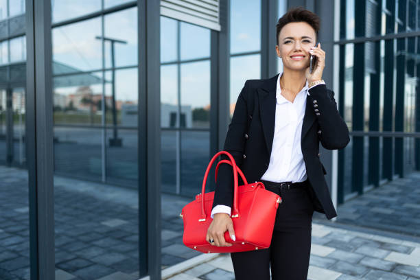 Modern business woman in the office with copy space stock photo