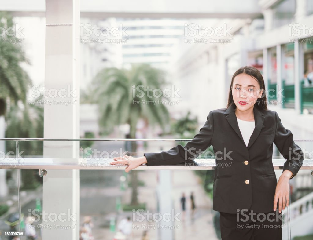 Modern business woman in the urban setting with copy space royalty-free stock photo