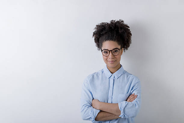 Modern business woman wearing glasses, copy space stock photo