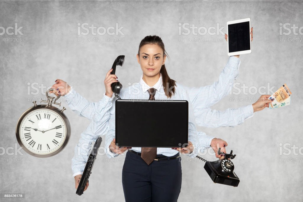 modern businesswoman replaces several people at once stock photo