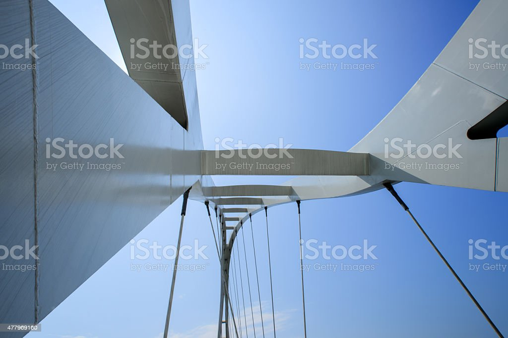 modern cable stayed bridge. stock photo