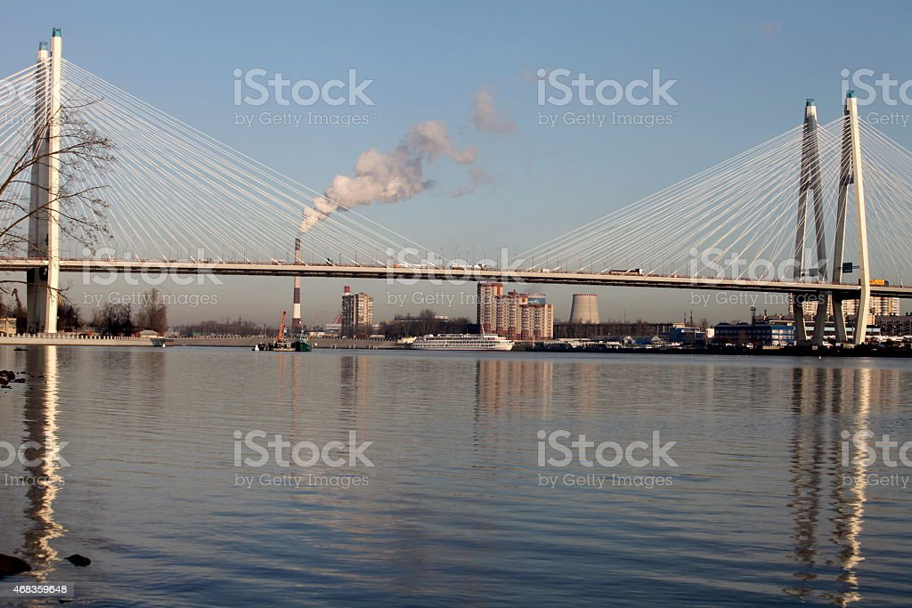 modern cable-stayed bridge royalty-free stock photo