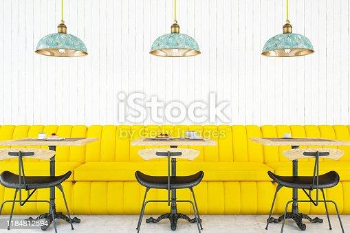 Modern Cafe Interior. 3d Render