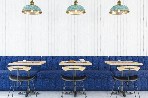 Modern Cafe Interior .3d Render