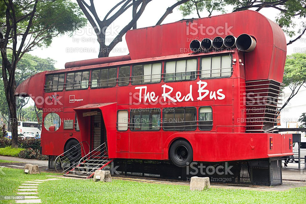 Modern cafe The Red Bus stock photo