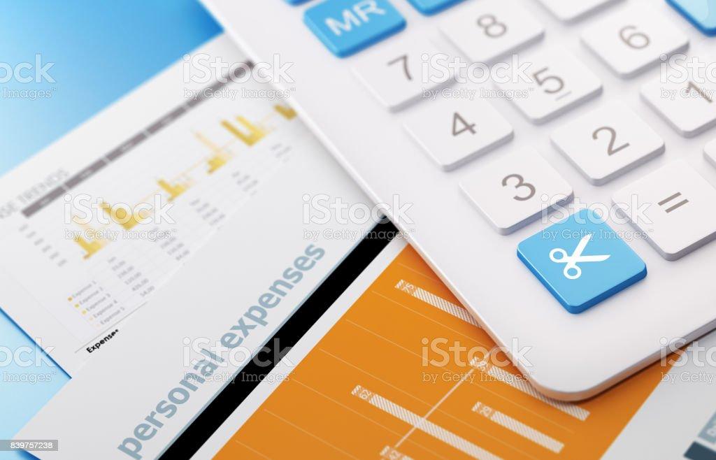fotografía de calculadora moderna con presupuesto de corte botón de