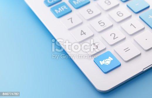 istock Modern Calculator with Handshake Button 846774782