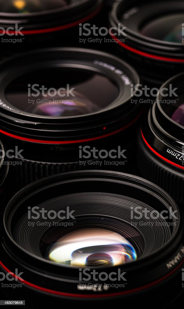 Modern camera lenses with reflections royalty-free stock photo