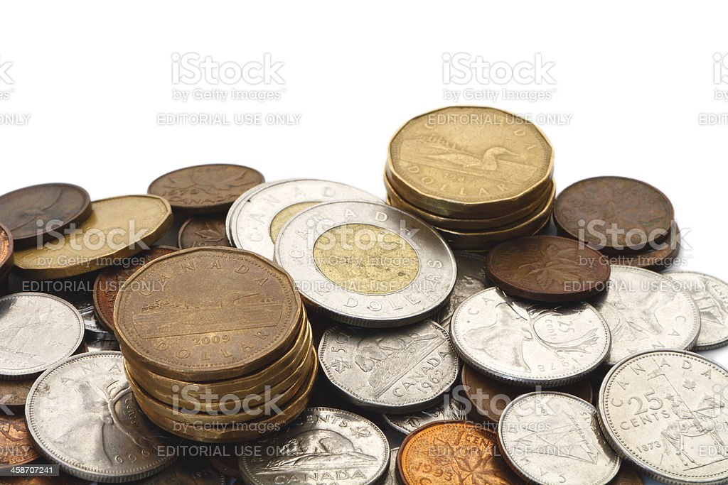 Modern Canadian Coins with Copy Space stock photo