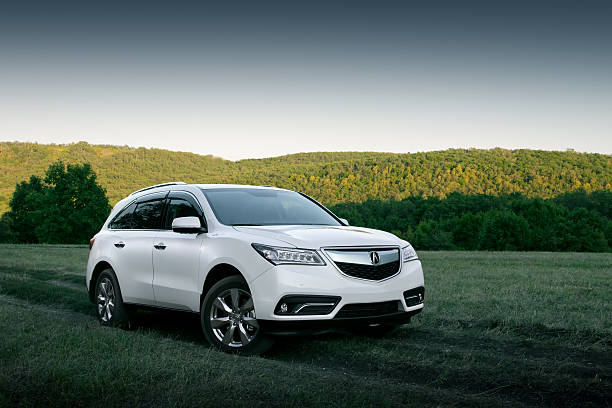 Modern car Acura MDX on road at sunset stock photo