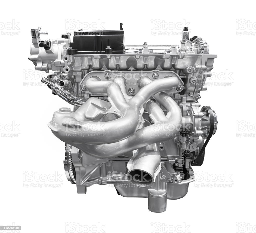 Modern car engine isolated on white background with clipping path stock photo