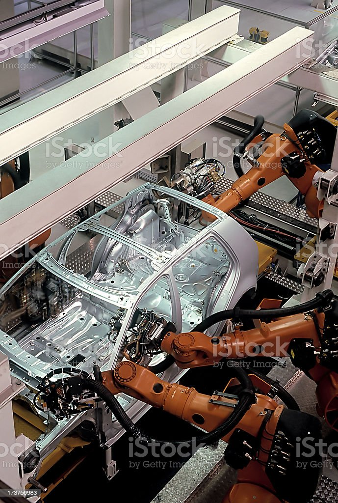 A modern car factory assembly line royalty-free stock photo