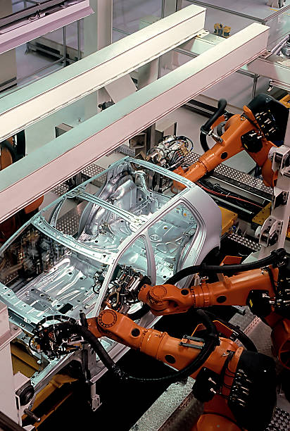 A modern car factory assembly line stock photo