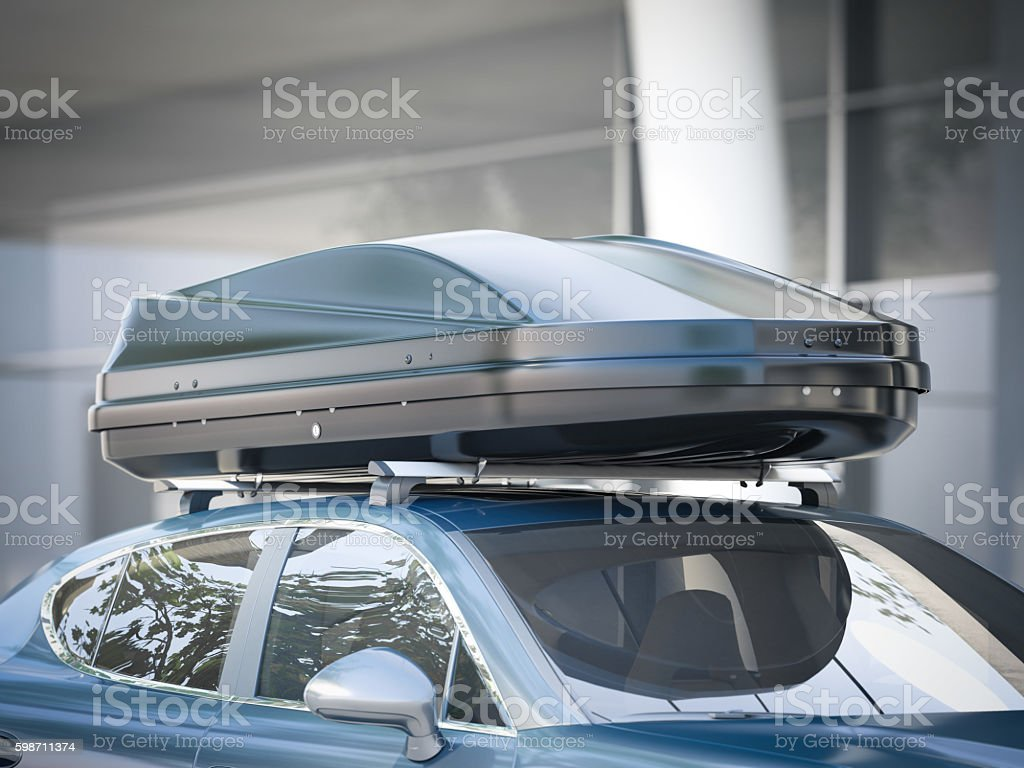 Modern car for traveling with a roof rack. 3d rendering - foto de stock