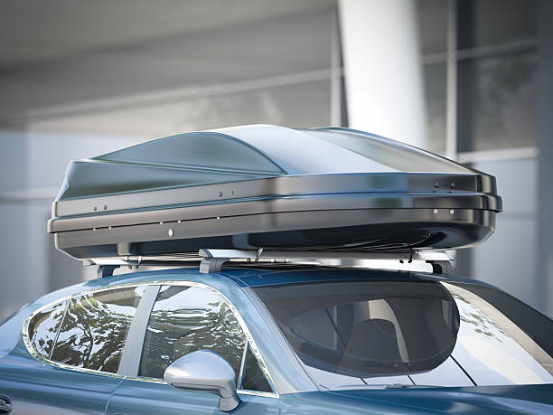 modern car for traveling with a roof rack. 3d rendering - 個人飾物 個照片及圖片檔