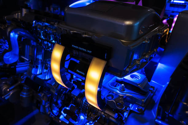 Modern car hybrid engine with illustration Power control unit Modern car hybrid engine with illustration Power control unit and electricity light hybrid vehicle stock pictures, royalty-free photos & images