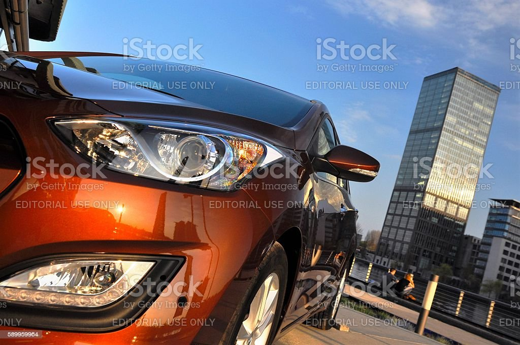 Modern car in the town stock photo