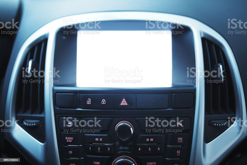 Modern car interior multimedia panel royalty-free stock photo