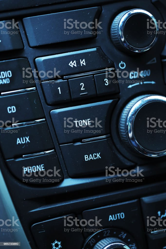 Modern car interior radio panel royalty-free stock photo