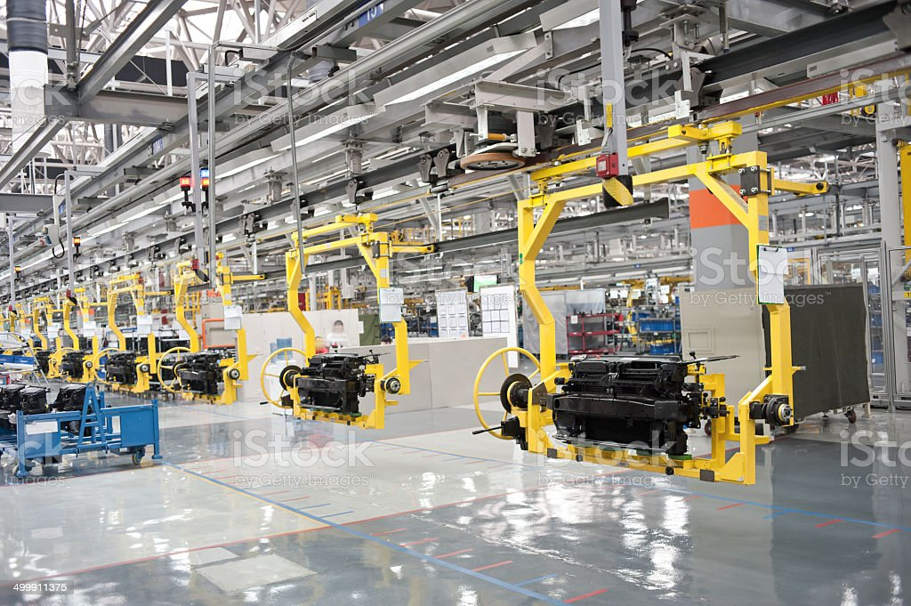 Modern car production line stock photo