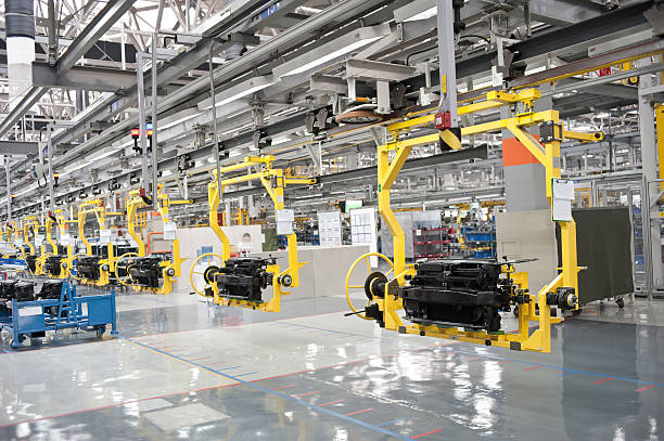 modern car production line - production line stock photos and pictures