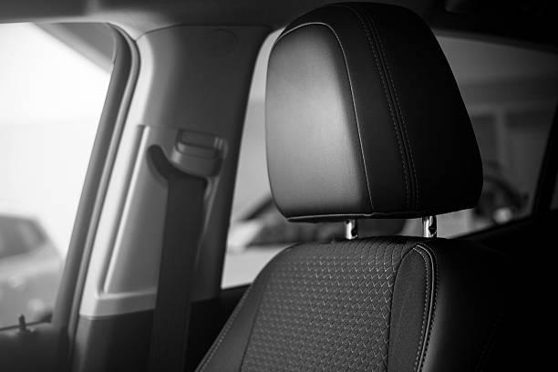 modern car seat head rest belt - kopfstütze stock-fotos und bilder