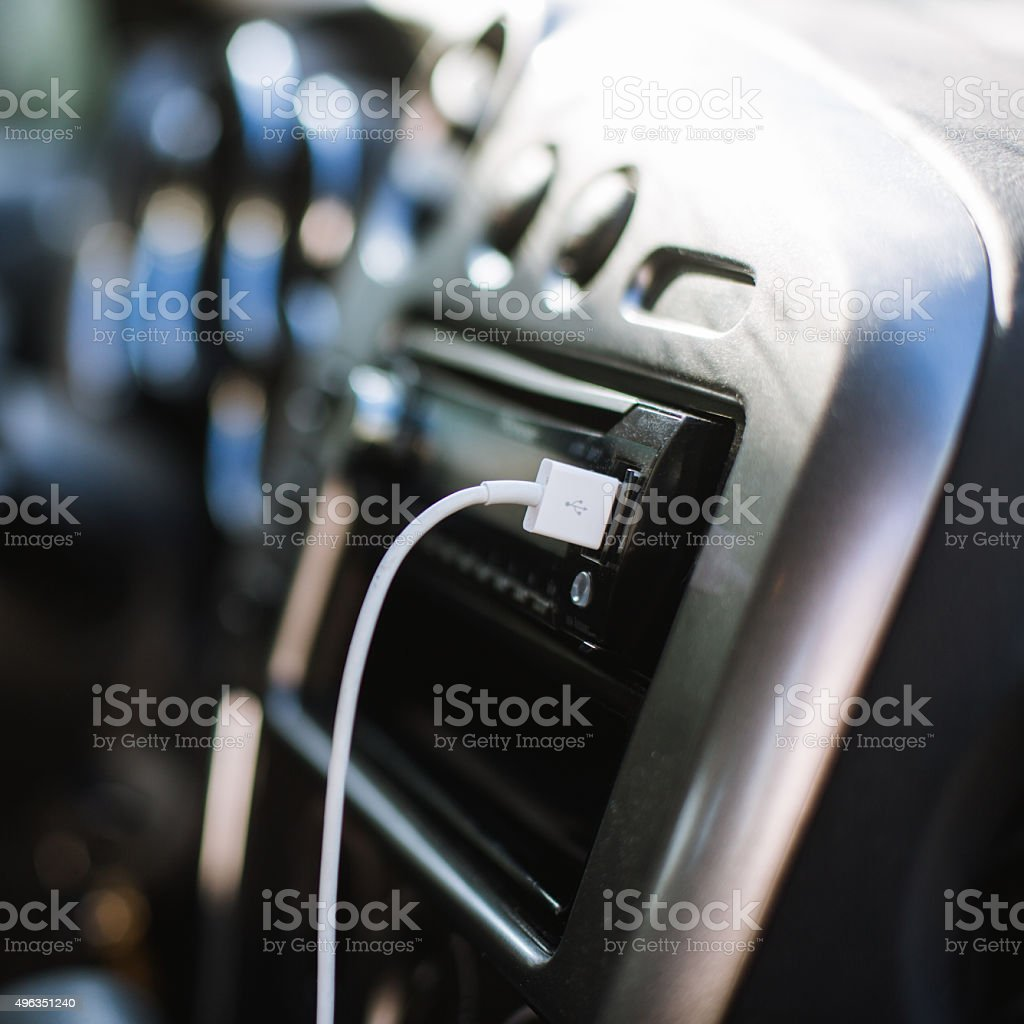 Modern Car Stereo USB Connection stock photo