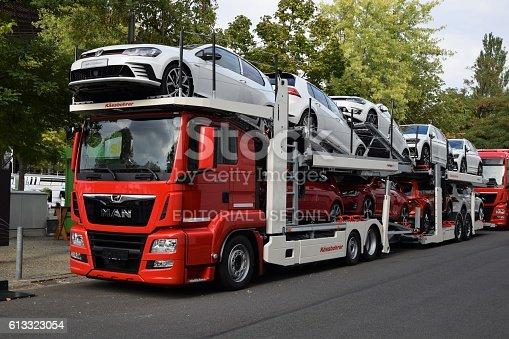 istock Modern car transporter 613323054
