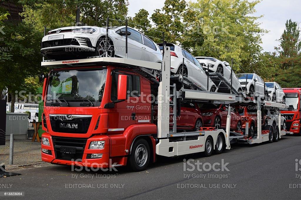 Modern car transporter stock photo