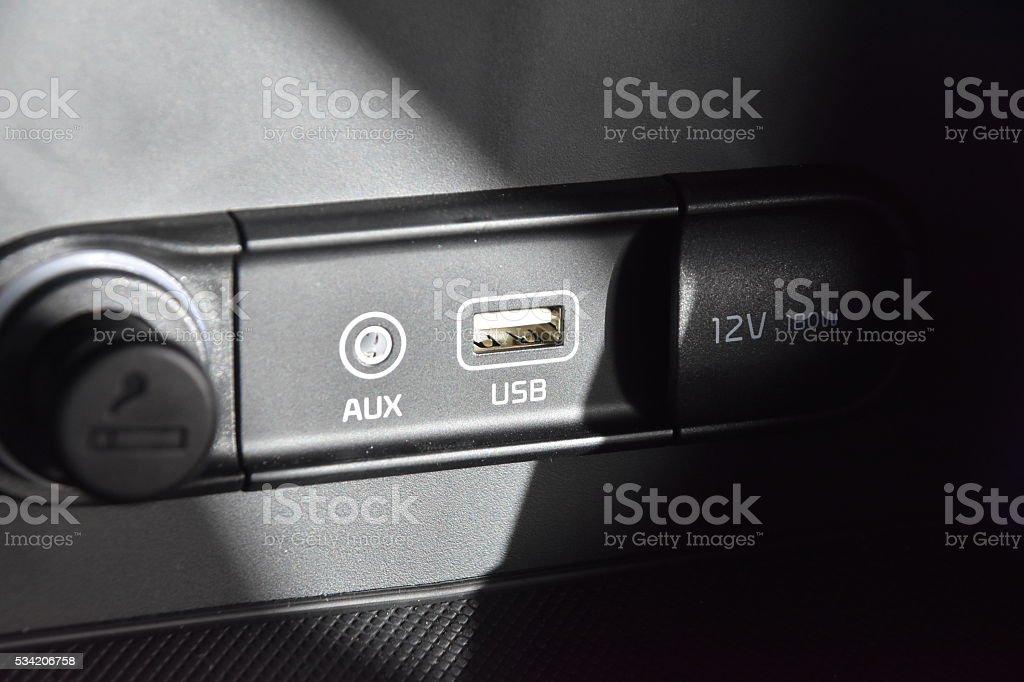 Modern Car USB Connection stock photo