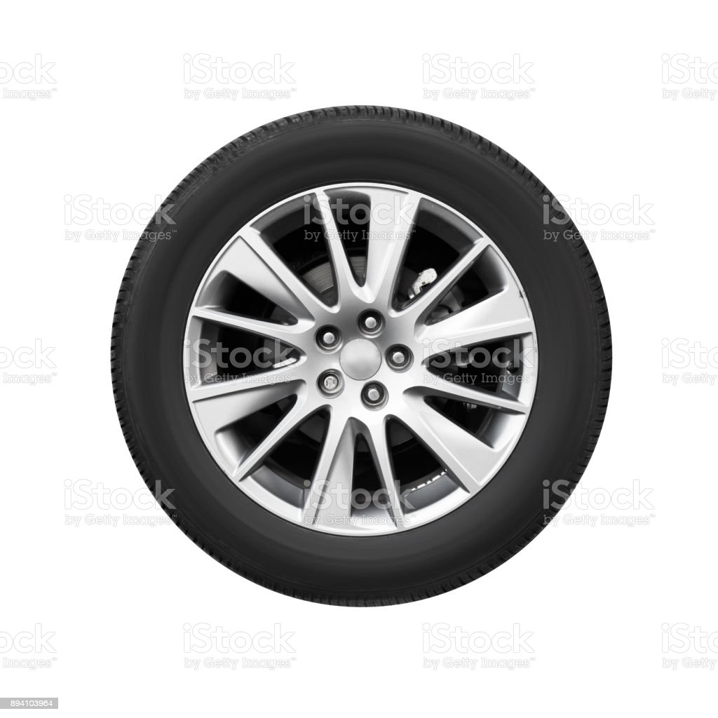 Modern car wheel on light alloy disc, front view stock photo