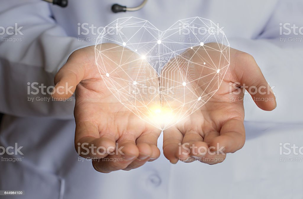 Modern Care treatment and support of the heart. stock photo