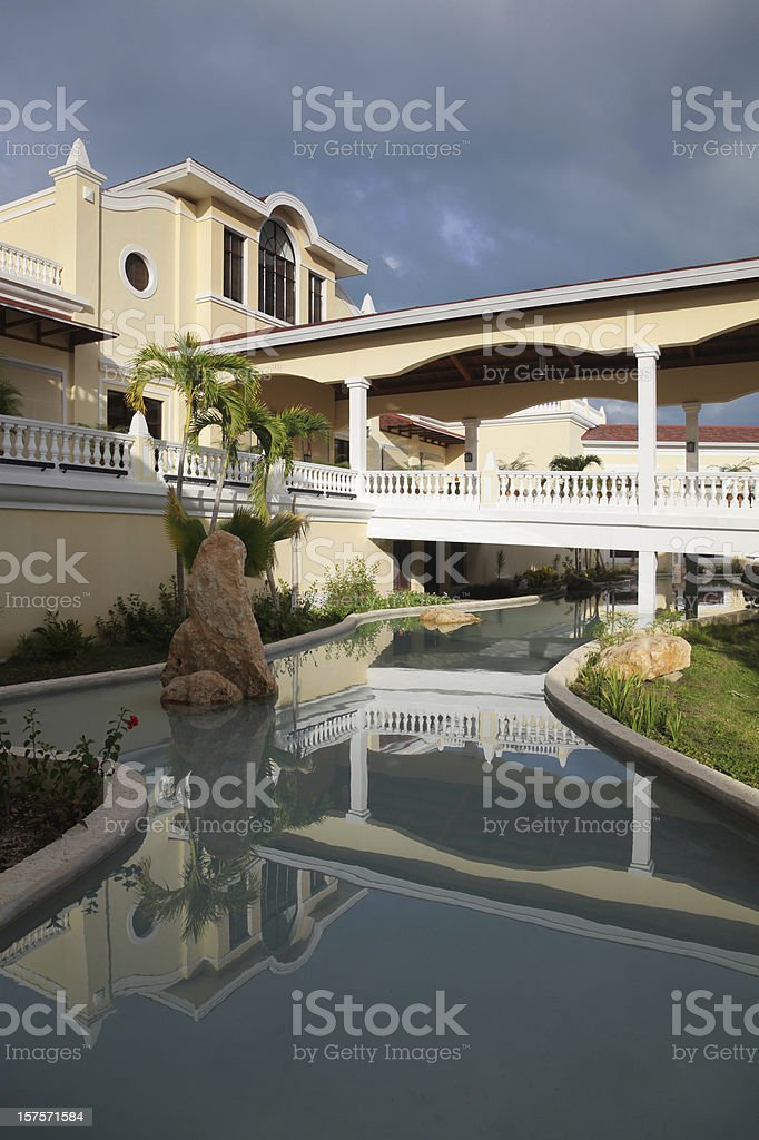 Modern Caribean Hotel with water reflection royalty-free stock photo