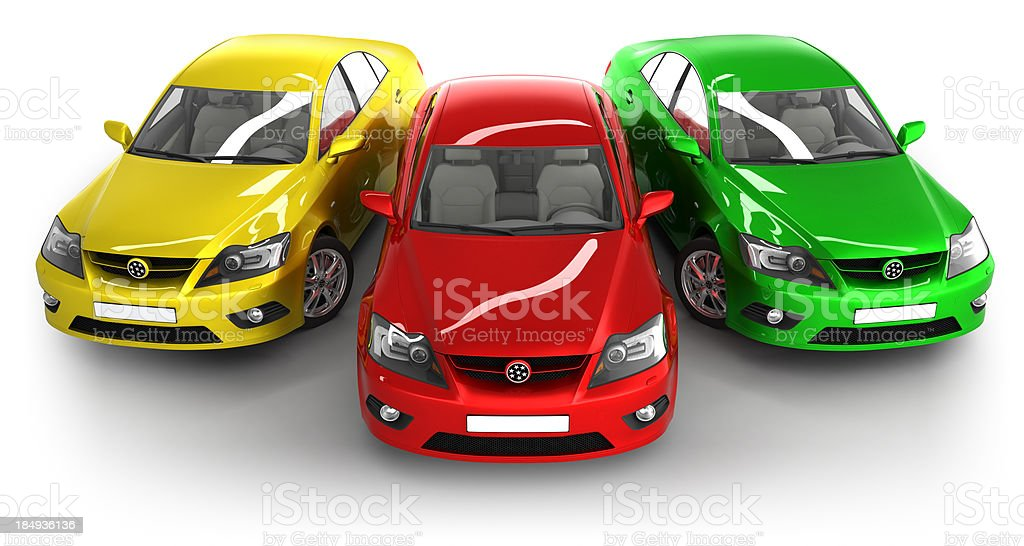 Modern cars in studio - isolated with clipping path royalty-free stock photo
