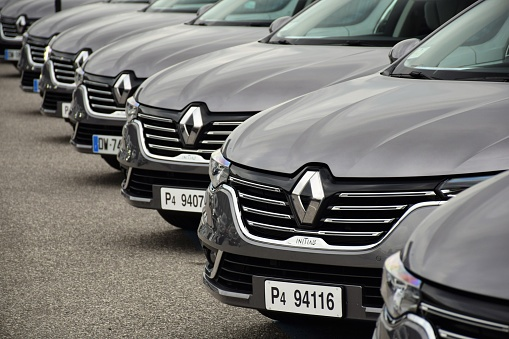 Florence, Italy - 18th November, 2015: Renault Talisman cars stopped on the parking before the presentation. The first generation of Talisman was debut in 2015 on the market. This model is the most luxury car in Renault offer in Europe.