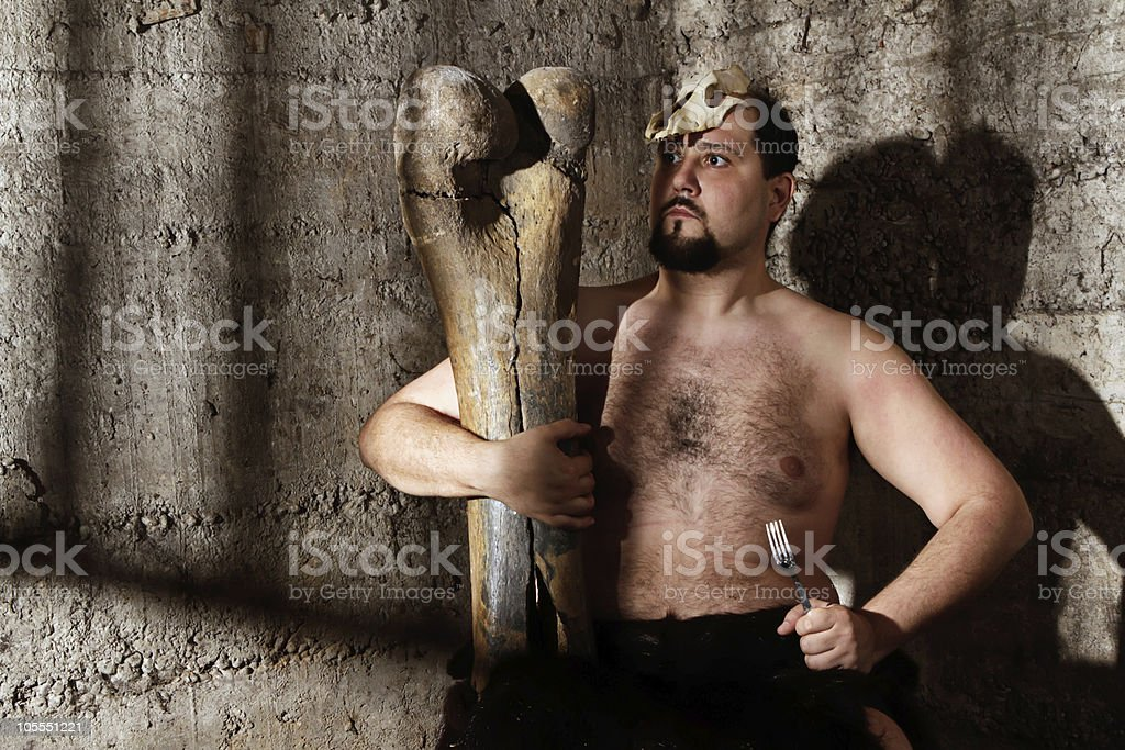 modern caveman stock photo