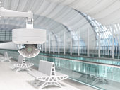 Modern Cctv Camera System Inside A Airport And Train Station Or Department Store