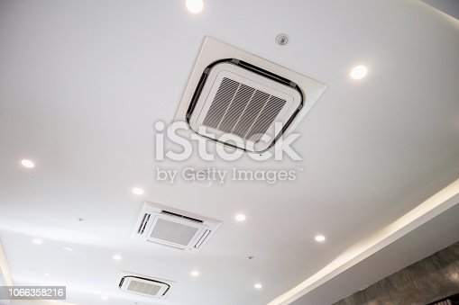 istock Modern ceiling mounted cassette type air conditioning system 1066358216
