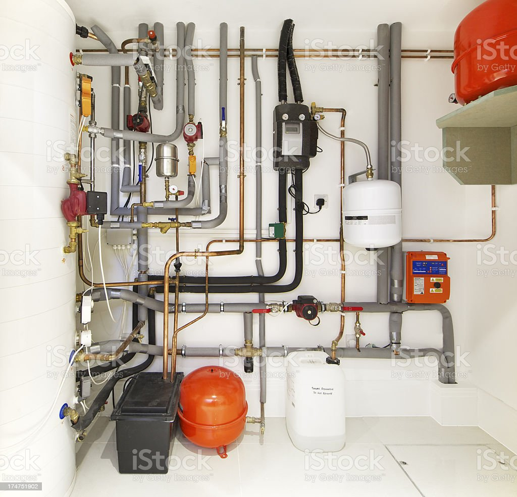 modern central heating system stock photo