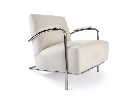Contemporary Chair. Ultra suede and chrome.