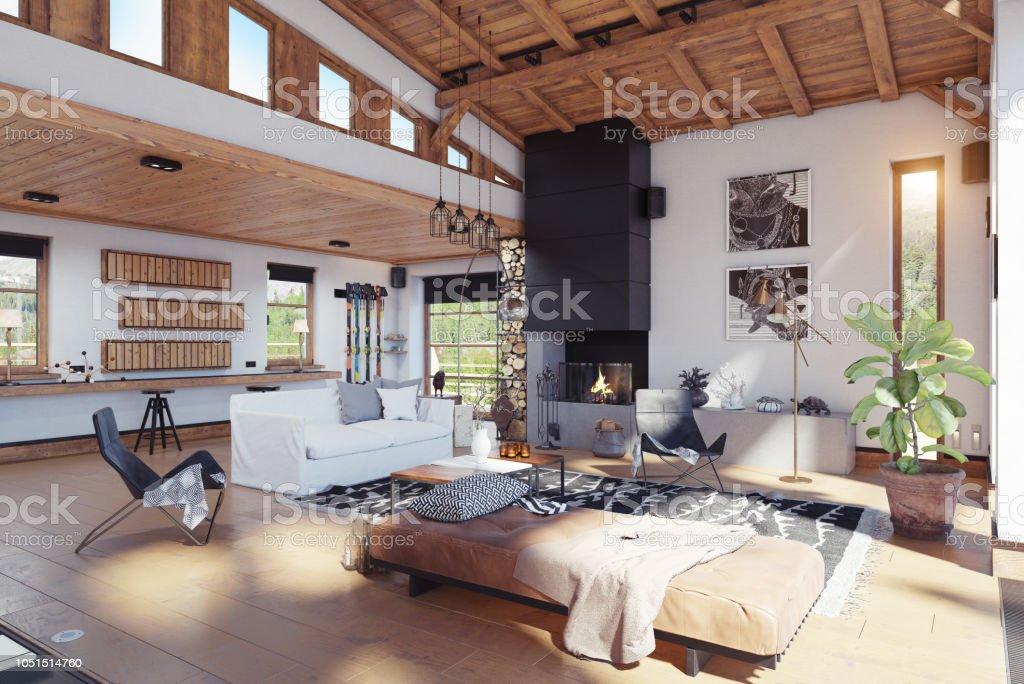 Modernes Chalet Interieur Stockfoto und mehr Bilder von Anzünden ...