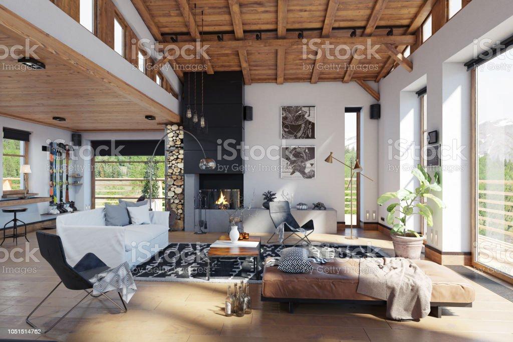 Modernes Chalet Interieur Stockfoto und mehr Bilder von ...