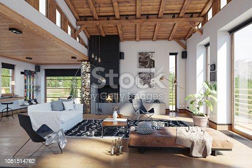modern chalet interior. 3d rendering design concept