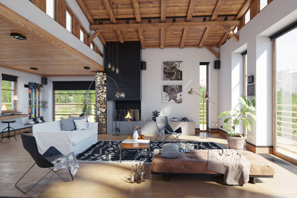 modernes chalet interieur. - mountain home interieur stock-fotos und bilder