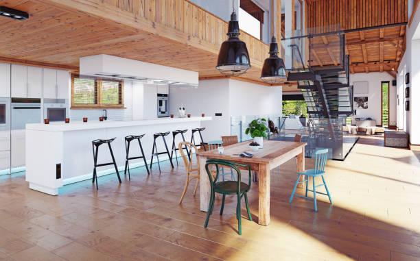 modernes chalet interieur. - landhausstil küche stock-fotos und bilder