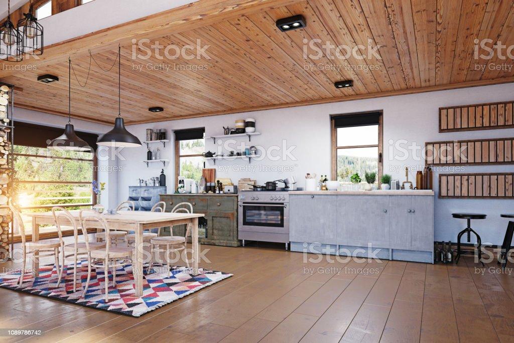 Modernes Chalet Interieur Stockfoto und mehr Bilder von Behaglich ...